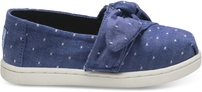 Imperial Blue Dot Chambray Bow Tiny TOMS Classics