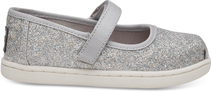 Silver Iridescent Glimmer Tiny TOMS Mary Jane Flats