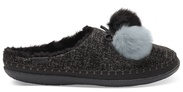 Black Felt Pom Pom Women's Ivy Slippers