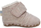 Rose Cloud Twill Glimmer Tiny TOMS Cuna Crib Shoes