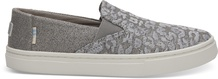 Neutral Grey Cheetah Embroidery Twill Glimmer Youth Luca Slip-Ons