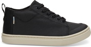 Black Textural Canvas Youth Lenny Mid Sneakers