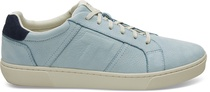 Pastel Turquoise Nubuck Leather Mens Leandro Sneakers