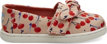 Coral Pink Cherry Cherie Print-Bow Tiny TOMS Classics