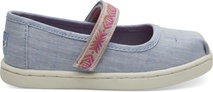 Light Bliss Blue Speckled Chambray- Global Webbing Tiny TOMS Mary Jane Flats