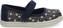 Navy Local Floral Print Tiny TOMS Mary Jane Flats