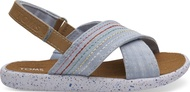 Light Bliss Blue Speckled Chambray- Deco Stich Tiny Viv Sandals