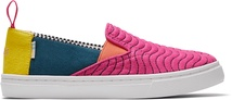 Magenta Wavy Quilted Microsuede Youth Luca Slip-Ons