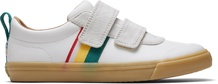 White Striped Leather Youth Doheny Sneakers
