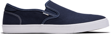 Blue Canvas Contrast Stitch Baja Men's Slip-Ons