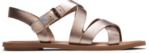 Rose Gold Metallic Leather Women's Sicily Sandals
