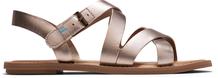 Rose Gold Metallic Leather Women's Sicily Sandals