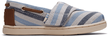 Blue Woven Striped Tiny Bimini Slip-Ons