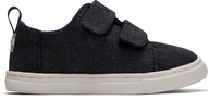 Black Washed Canvas Tiny TOMS Lenny Double Strap Sneakers