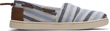 Blue Woven Striped Kids Bimini Slip-Ons