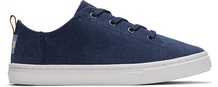 Navy Washed Canvas Youth Lenny Elastic Sneakers
