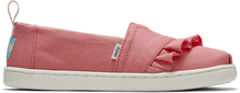 Peach Canvas Ruffle Youth Alpargata